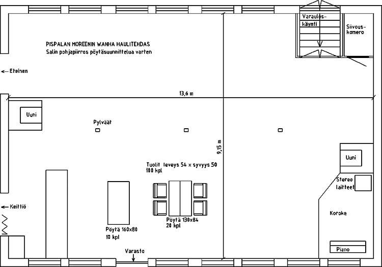 Pohjapiirros tila- ja pöytäsuunnittelua varten.